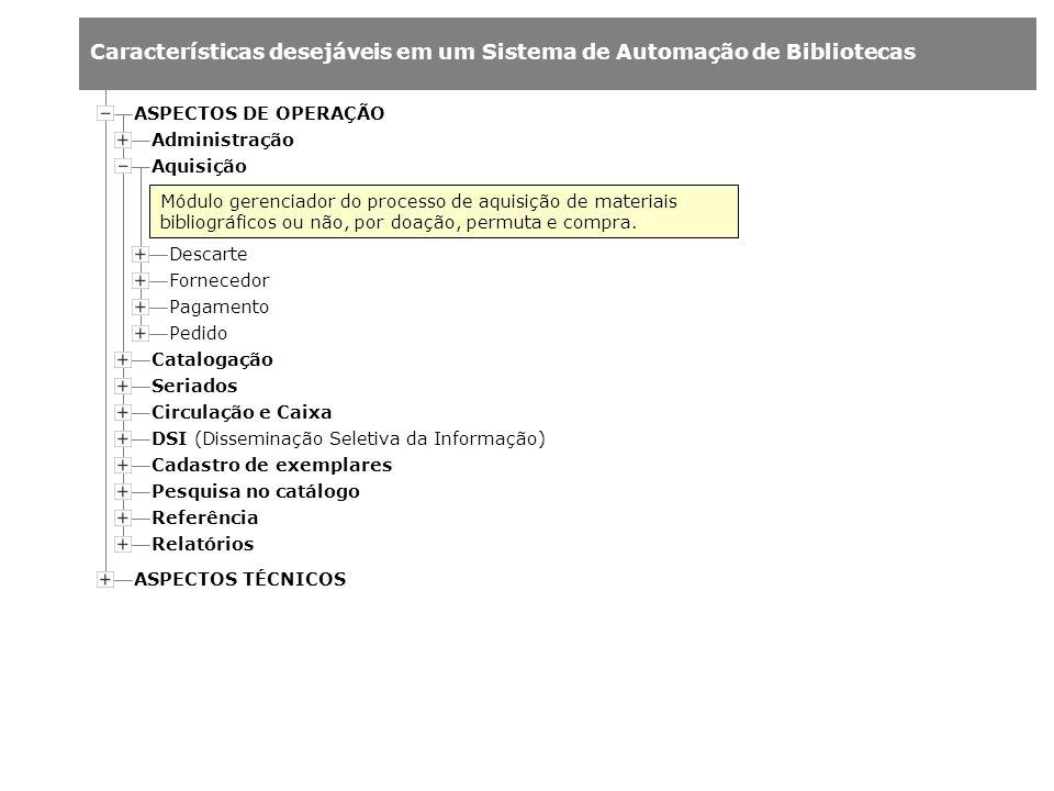 ASPECTOS DE OPERAÇÃO Administração. Aquisição.