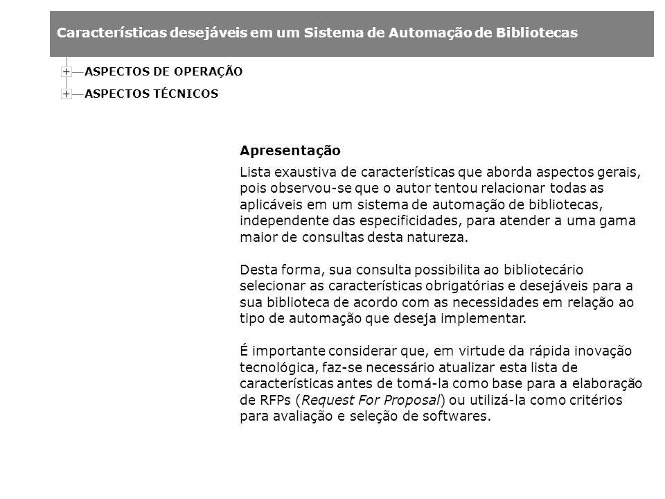 ASPECTOS DE OPERAÇÃO ASPECTOS TÉCNICOS. Apresentação.