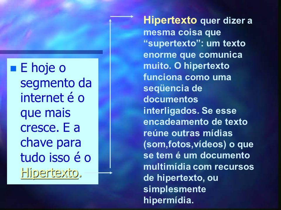 Hipertexto quer dizer a mesma coisa que supertexto : um texto enorme que comunica muito. O hipertexto funciona como uma seqüencia de documentos interligados. Se esse encadeamento de texto reúne outras mídias (som,fotos,vídeos) o que se tem é um documento multimídia com recursos de hipertexto, ou simplesmente hipermídia.