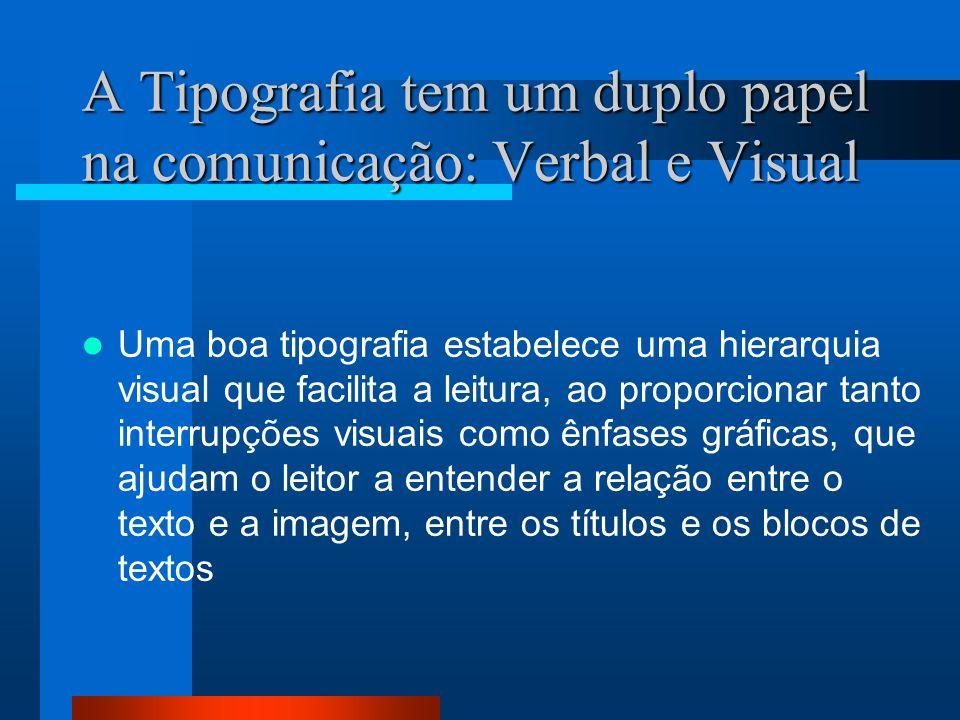 A Tipografia tem um duplo papel na comunicação: Verbal e Visual