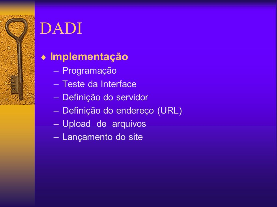 DADI Implementação Programação Teste da Interface
