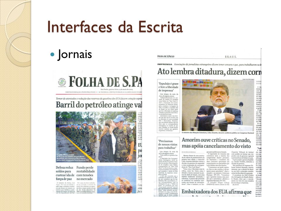 Interfaces da Escrita Jornais