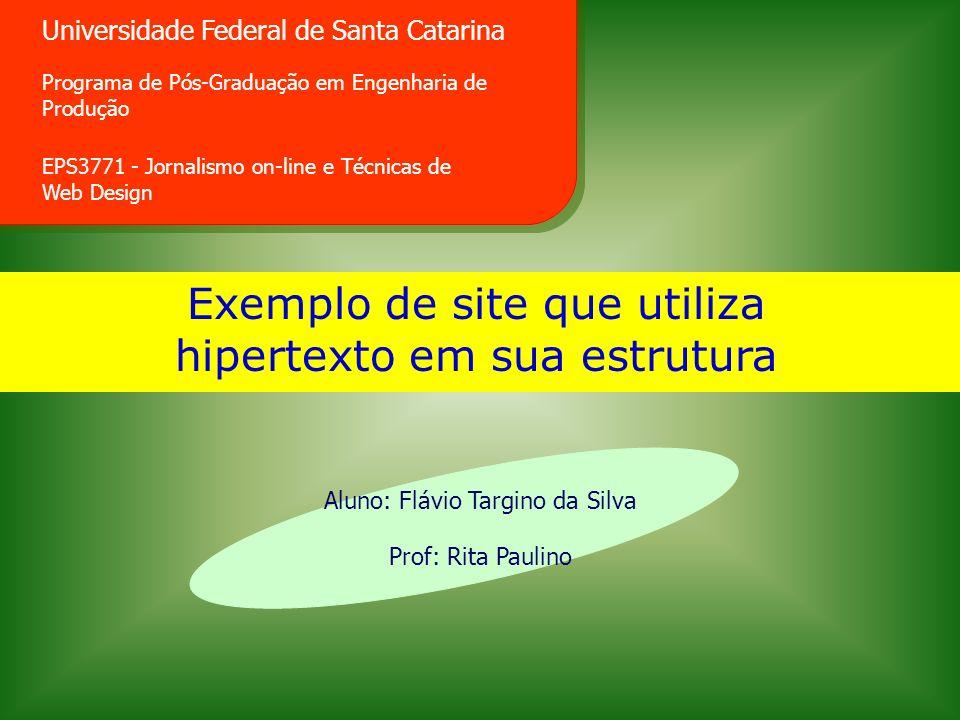 Exemplo de site que utiliza hipertexto em sua estrutura