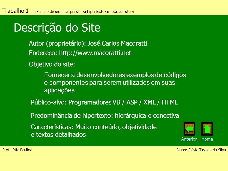 Descrição do Site Autor (proprietário): José Carlos Macoratti