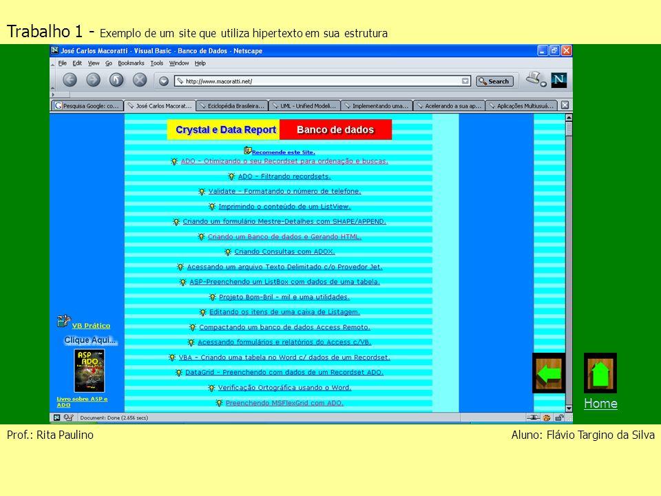 Trabalho 1 - Exemplo de um site que utiliza hipertexto em sua estrutura