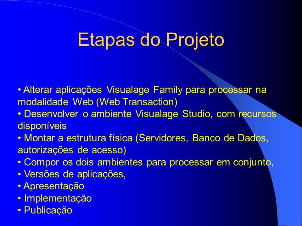 Etapas do Projeto Alterar aplicações Visualage Family para processar na modalidade Web (Web Transaction)