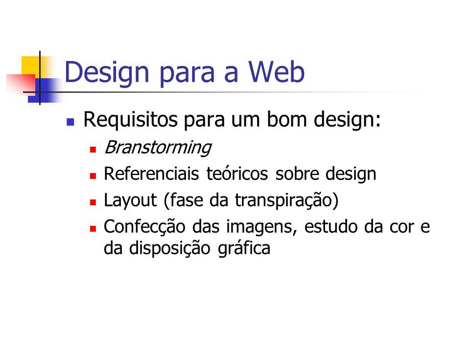 Design para a Web Requisitos para um bom design: Branstorming