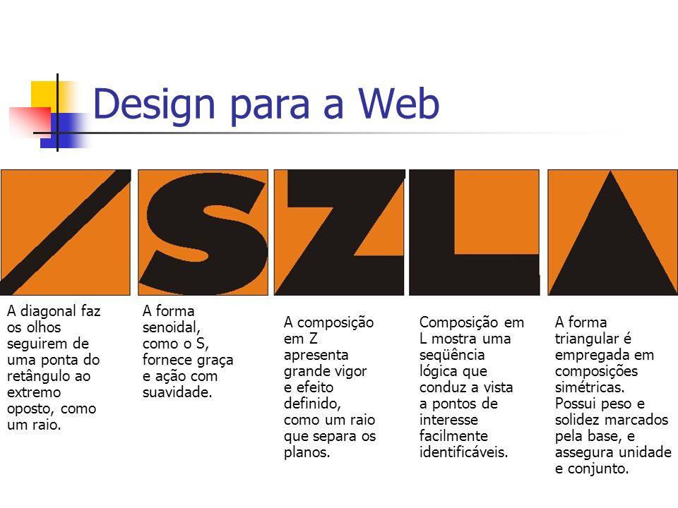 Design para a Web A diagonal faz os olhos seguirem de uma ponta do retângulo ao extremo oposto, como um raio.