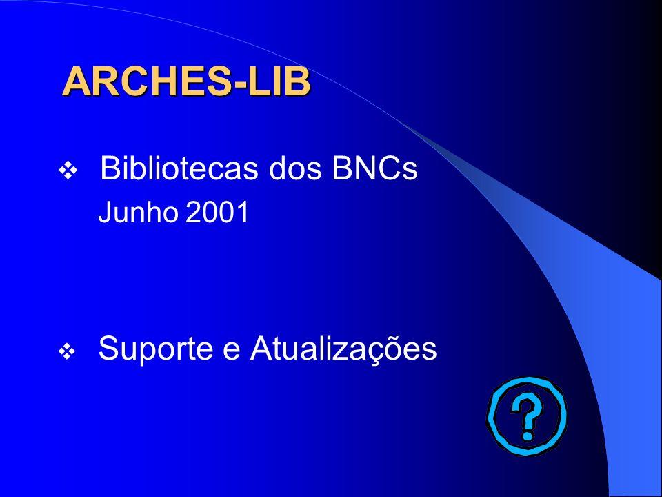 ARCHES-LIB Bibliotecas dos BNCs Junho 2001 Suporte e Atualizações
