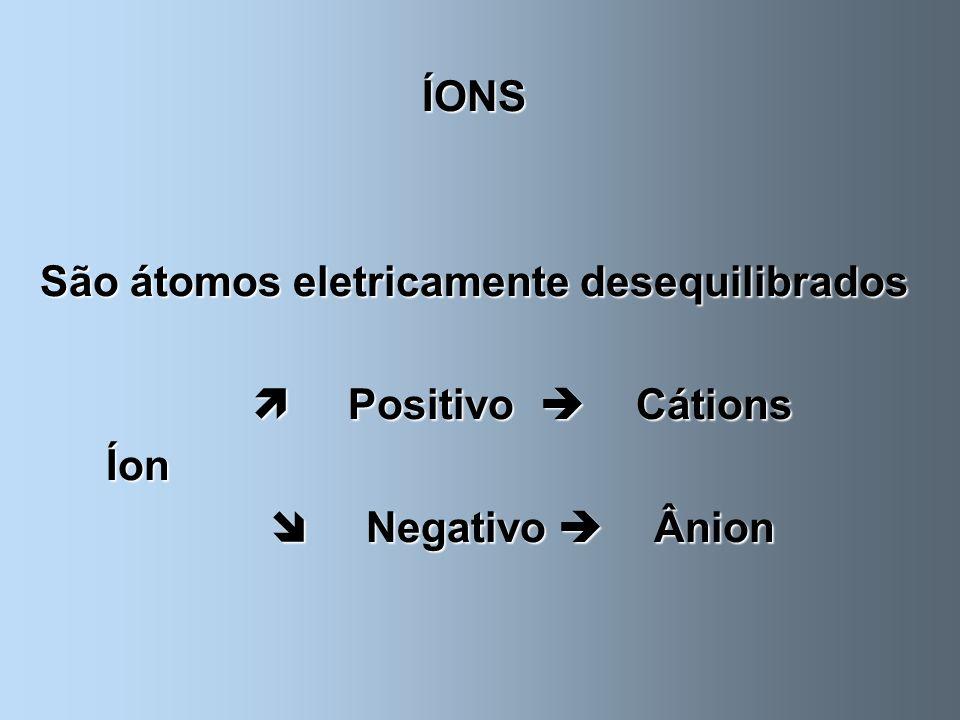 São átomos eletricamente desequilibrados