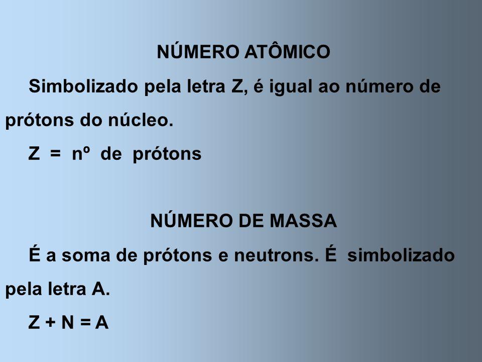NÚMERO ATÔMICO Simbolizado pela letra Z, é igual ao número de prótons do núcleo. Z = nº de prótons.