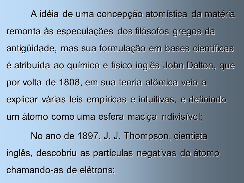 A idéia de uma concepção atomística da matéria remonta às especulações dos filósofos gregos da antigüidade, mas sua formulação em bases científicas é atribuída ao químico e físico inglês John Dalton, que por volta de 1808, em sua teoria atômica veio a explicar várias leis empíricas e intuitivas, e definindo um átomo como uma esfera maciça indivisível;