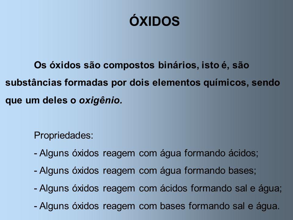 ÓXIDOS Os óxidos são compostos binários, isto é, são substâncias formadas por dois elementos químicos, sendo que um deles o oxigênio.