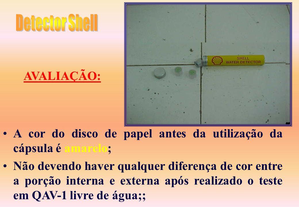 Detector Shell AVALIAÇÃO: A cor do disco de papel antes da utilização da cápsula é amarelo;