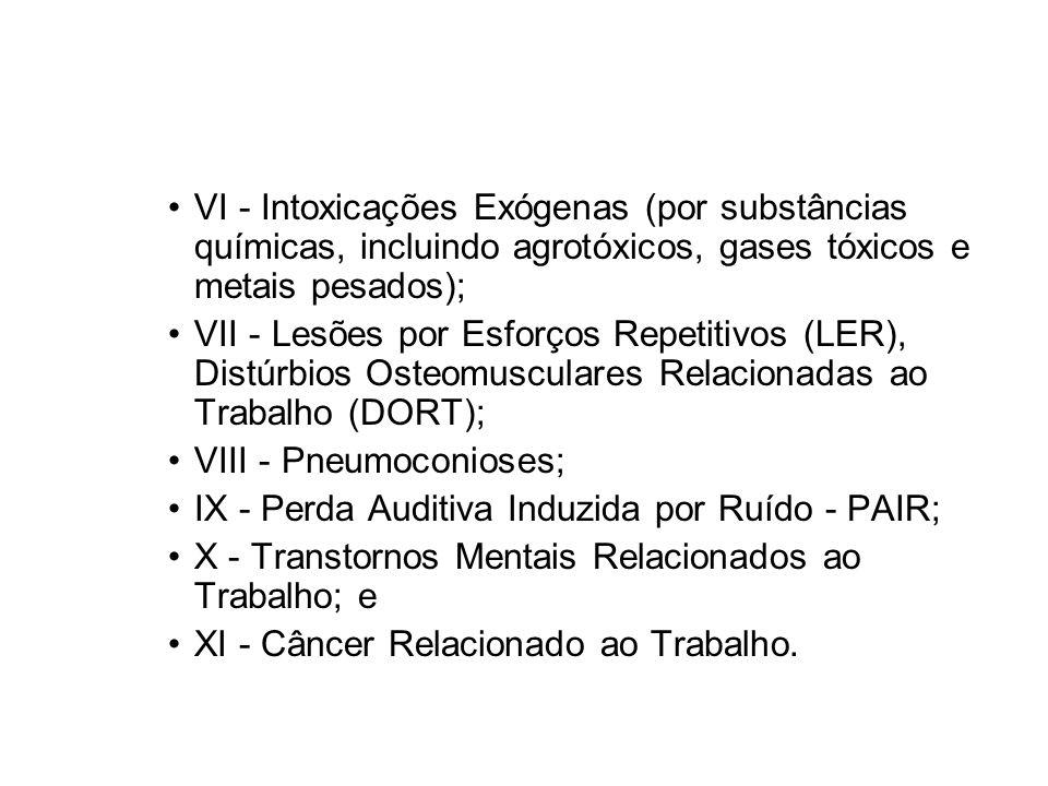 VI - Intoxicações Exógenas (por substâncias químicas, incluindo agrotóxicos, gases tóxicos e metais pesados);
