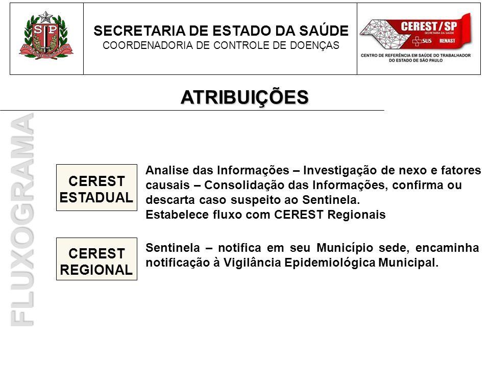 FLUXOGRAMA ATRIBUIÇÕES SECRETARIA DE ESTADO DA SAÚDE CEREST ESTADUAL
