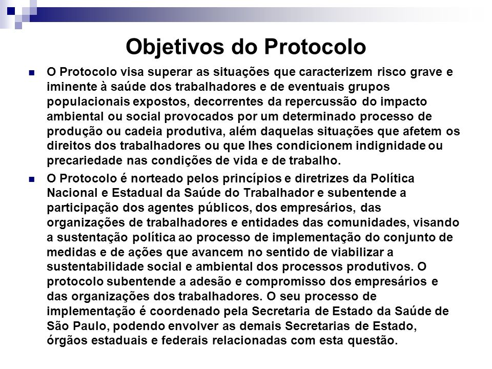 Objetivos do Protocolo