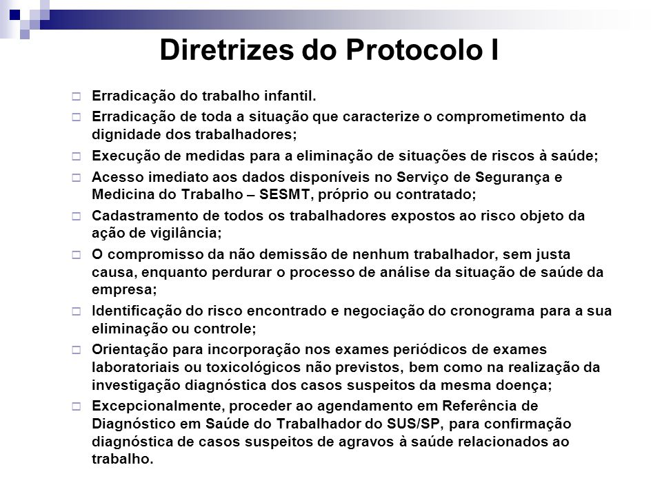 Diretrizes do Protocolo I
