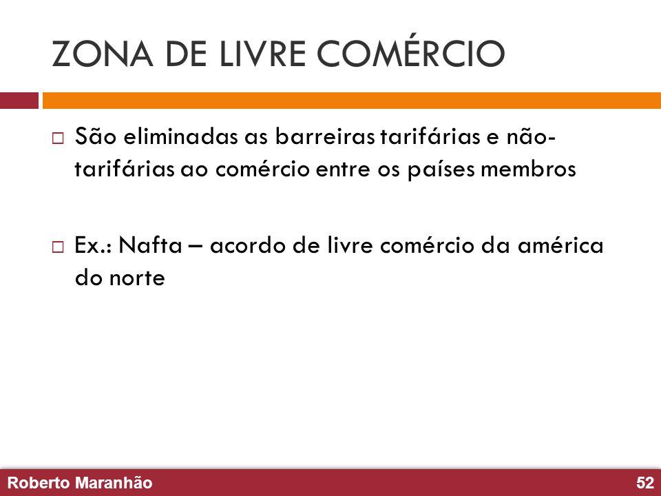 ZONA DE LIVRE COMÉRCIO São eliminadas as barreiras tarifárias e não- tarifárias ao comércio entre os países membros.
