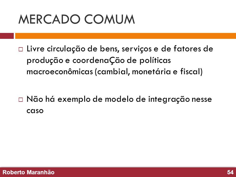 MERCADO COMUM Livre circulação de bens, serviços e de fatores de produção e coordenaÇão de políticas macroeconômicas (cambial, monetária e fiscal)