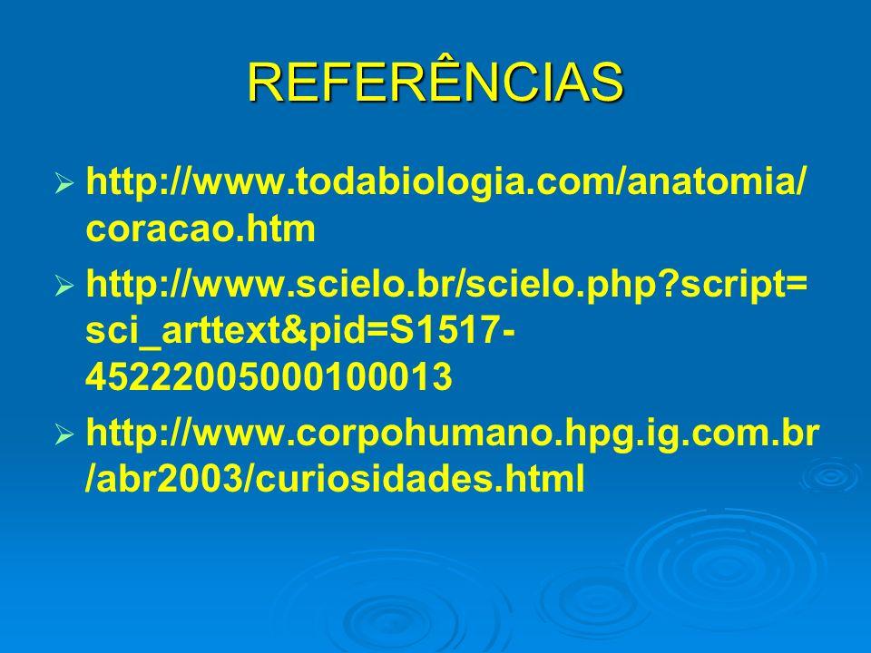 REFERÊNCIAS http://www.todabiologia.com/anatomia/coracao.htm