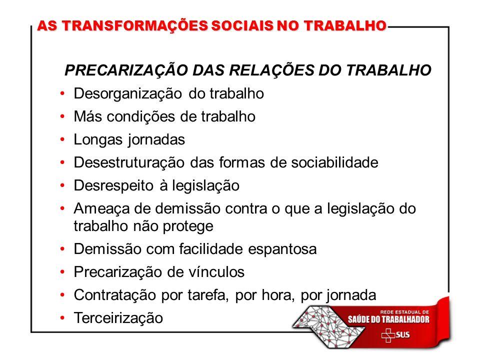 PRECARIZAÇÃO DAS RELAÇÕES DO TRABALHO