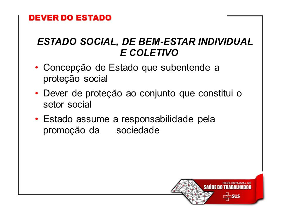 ESTADO SOCIAL, DE BEM-ESTAR INDIVIDUAL E COLETIVO