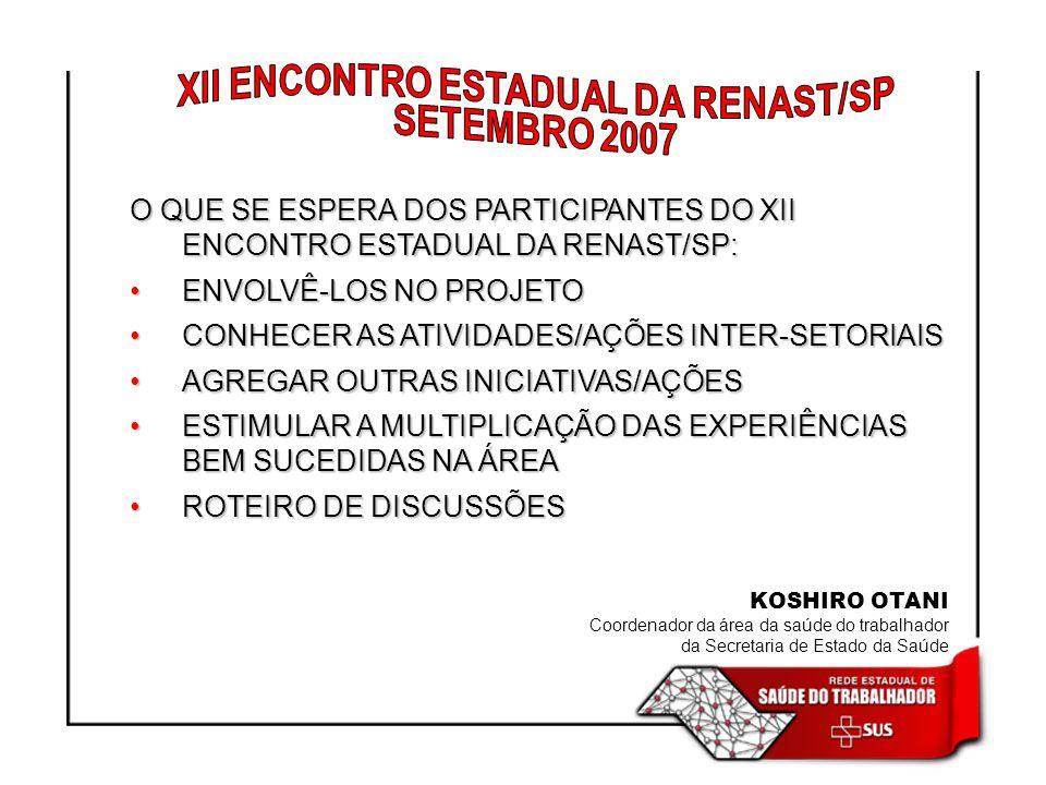 XII ENCONTRO ESTADUAL DA RENAST/SP