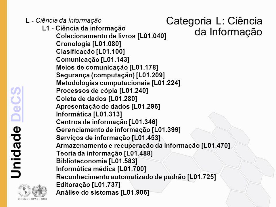 Categoria L: Ciência da Informação