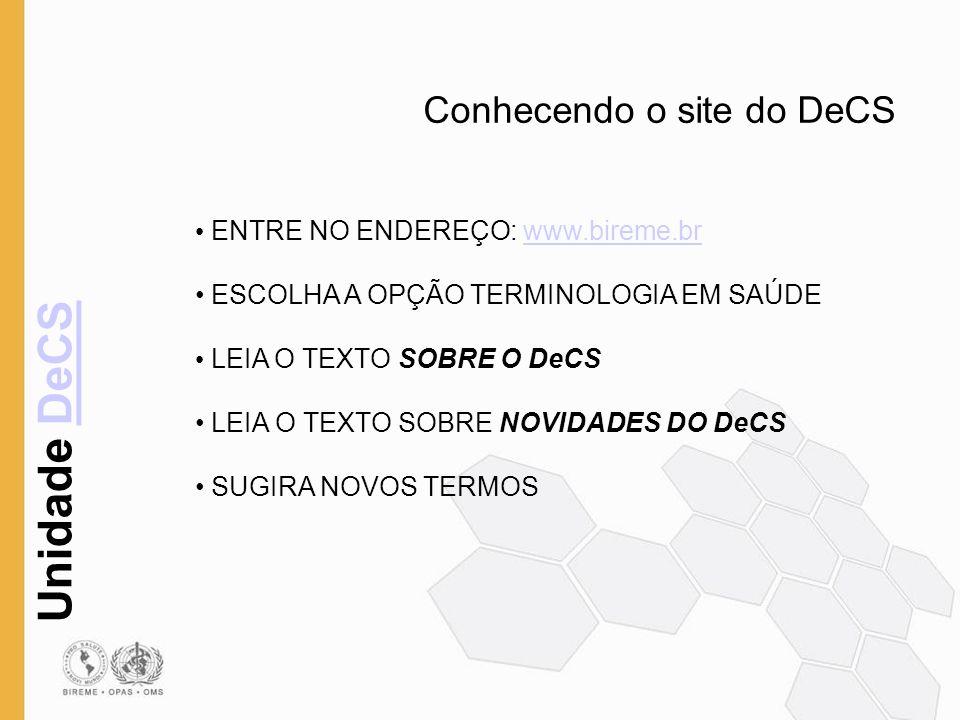 Conhecendo o site do DeCS