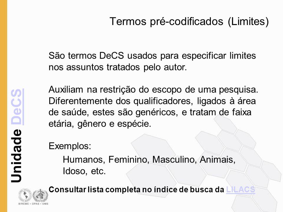 Termos pré-codificados (Limites)