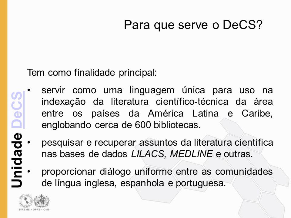 Para que serve o DeCS Tem como finalidade principal: