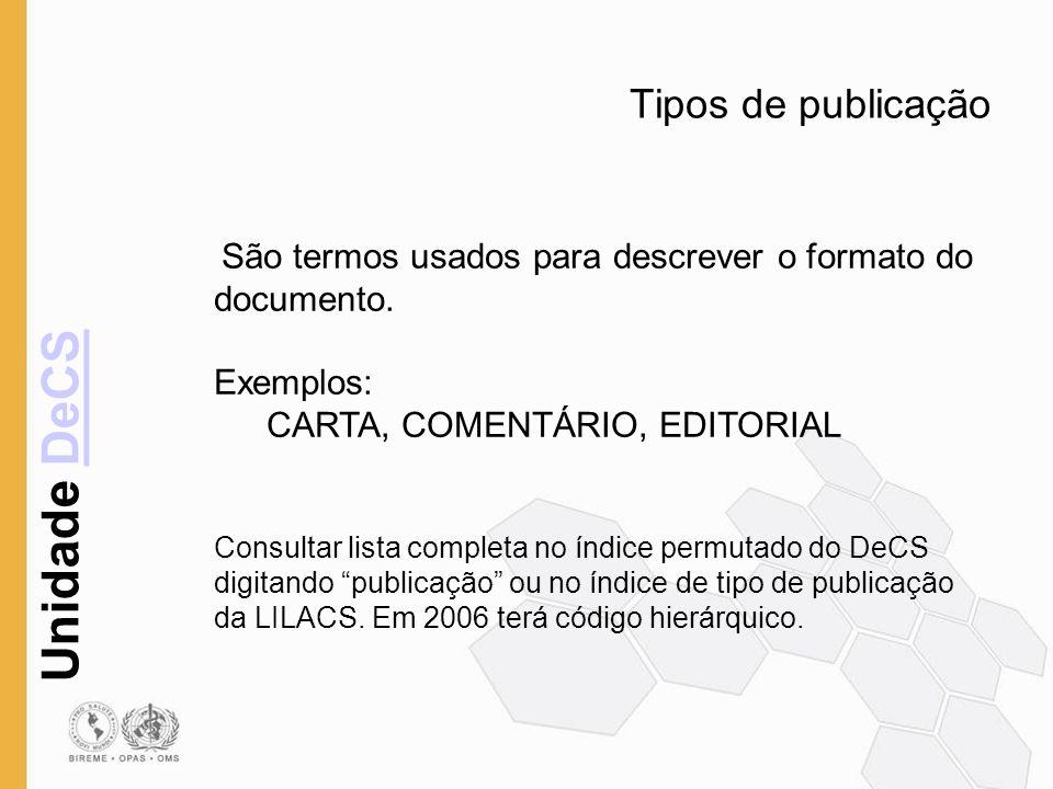 Tipos de publicação Exemplos: CARTA, COMENTÁRIO, EDITORIAL
