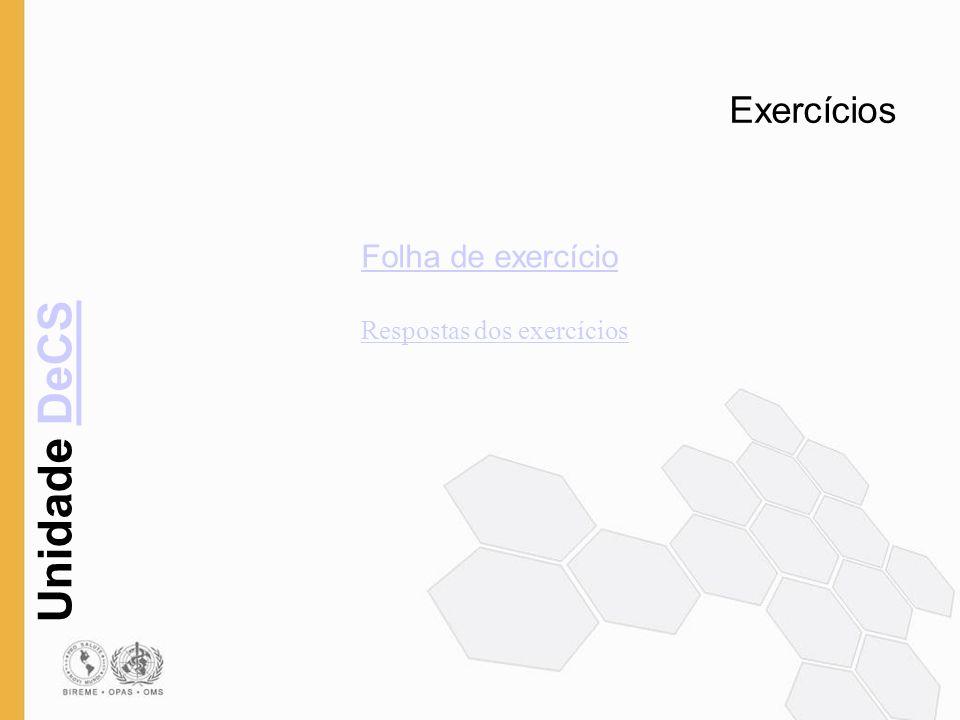 Exercícios Folha de exercício Respostas dos exercícios