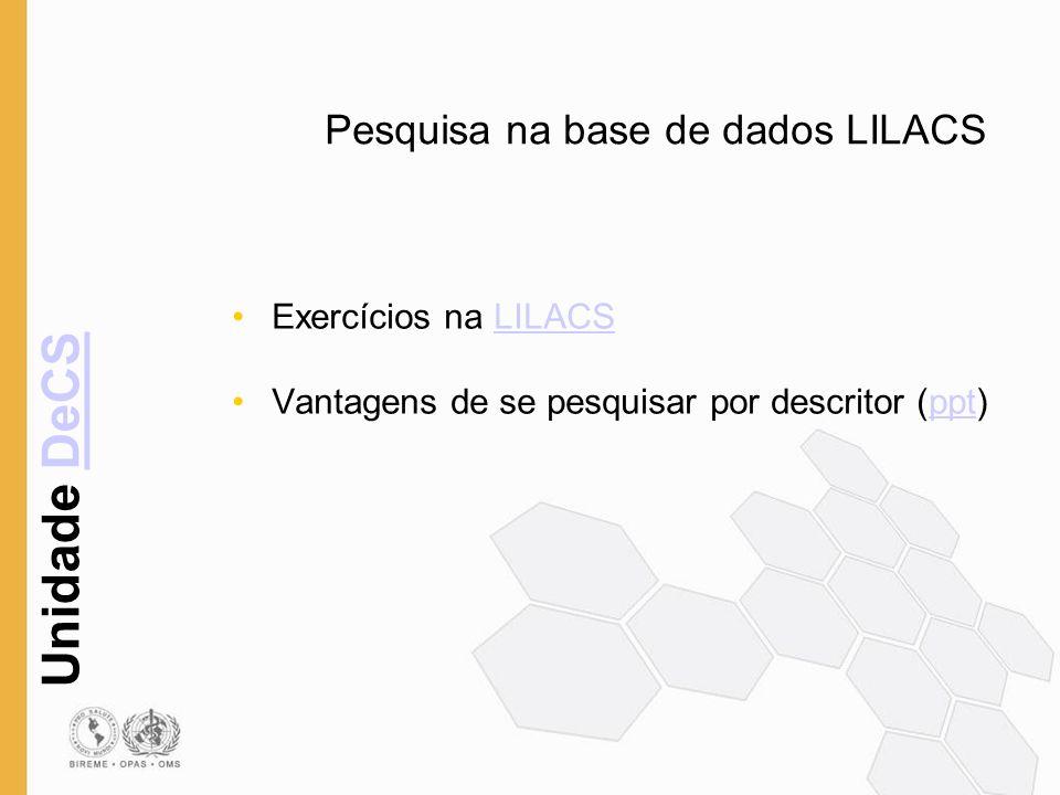 Pesquisa na base de dados LILACS