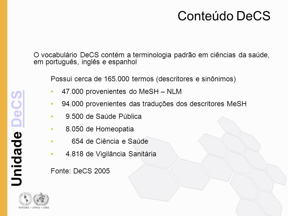 Conteúdo DeCS O vocabulário DeCS contém a terminologia padrão em ciências da saúde, em português, inglês e espanhol.