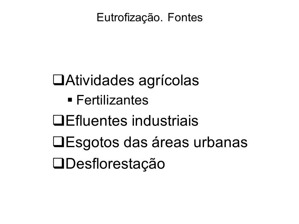 Efluentes industriais Esgotos das áreas urbanas Desflorestação