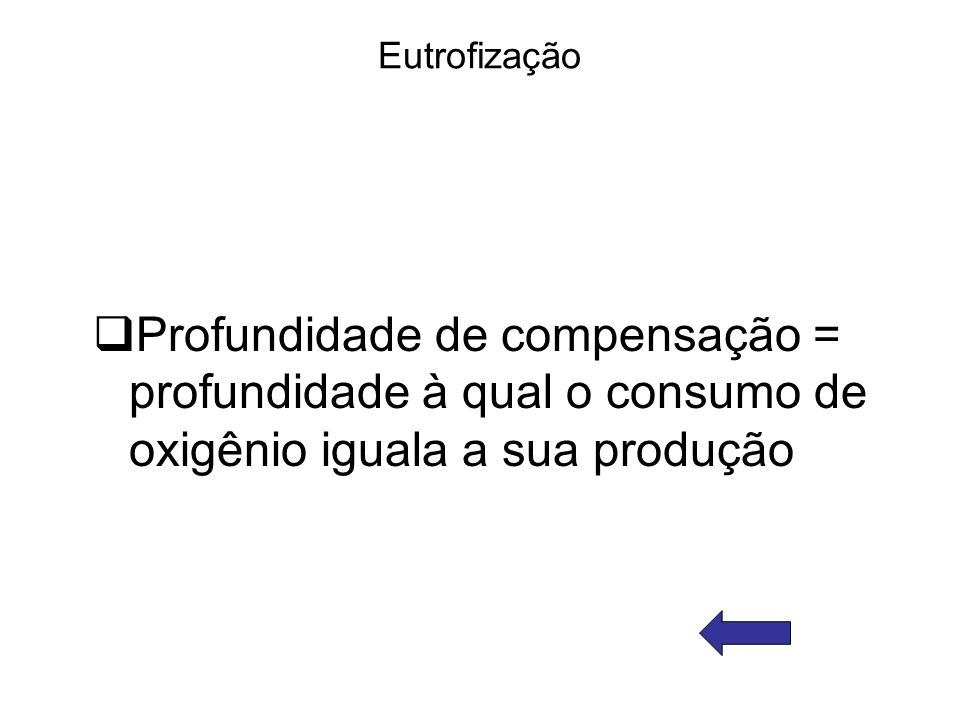 Eutrofização Profundidade de compensação = profundidade à qual o consumo de oxigênio iguala a sua produção.