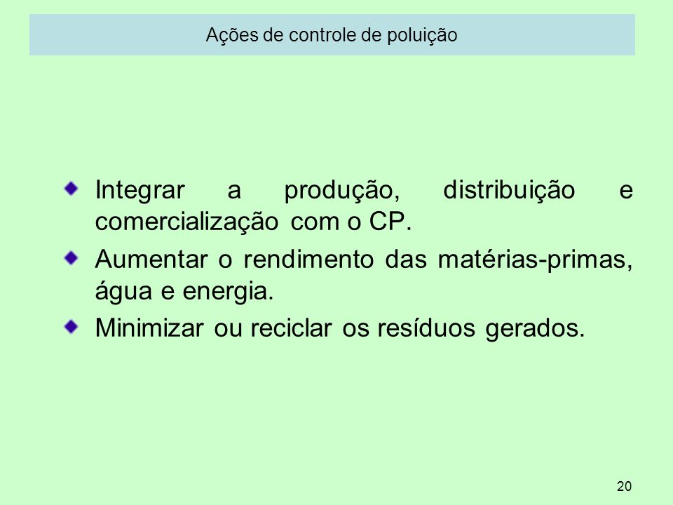 Ações de controle de poluição