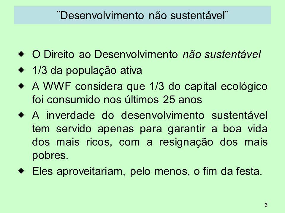 ¨Desenvolvimento não sustentável¨