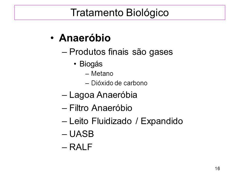 Tratamento Biológico Anaeróbio Produtos finais são gases