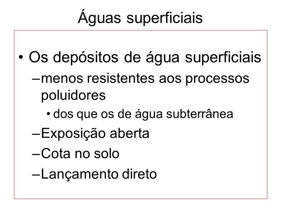 Os depósitos de água superficiais