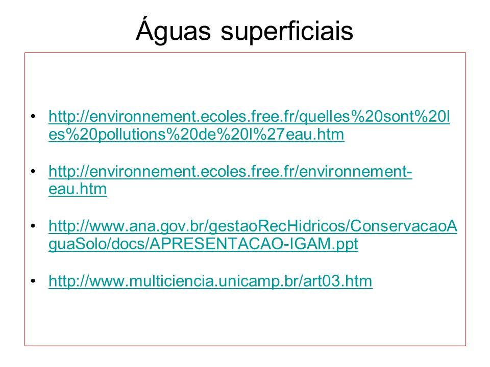 Águas superficiais http://environnement.ecoles.free.fr/quelles%20sont%20l es%20pollutions%20de%20l%27eau.htm.