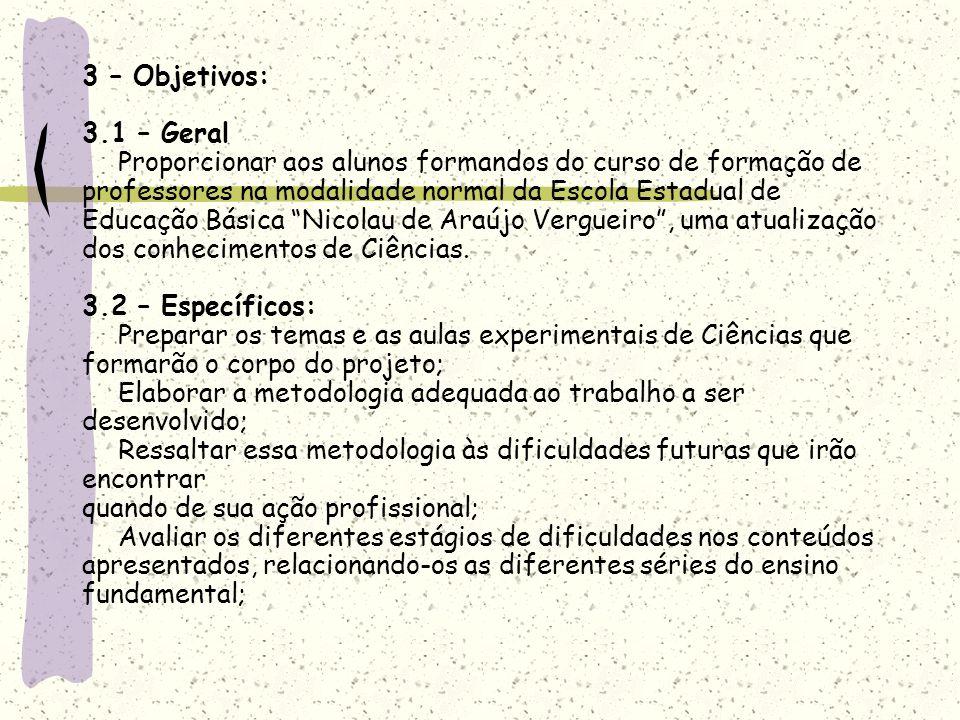 3 – Objetivos: 3.1 – Geral. Proporcionar aos alunos formandos do curso de formação de. professores na modalidade normal da Escola Estadual de.