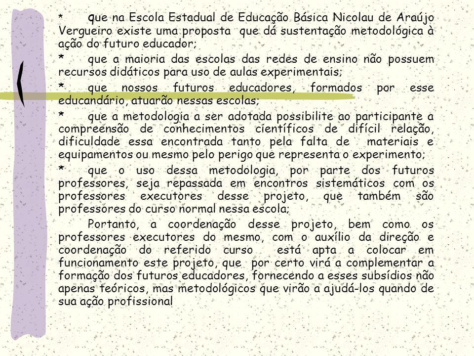 * que na Escola Estadual de Educação Básica Nicolau de Araújo Vergueiro existe uma proposta que dá sustentação metodológica à ação do futuro educador;