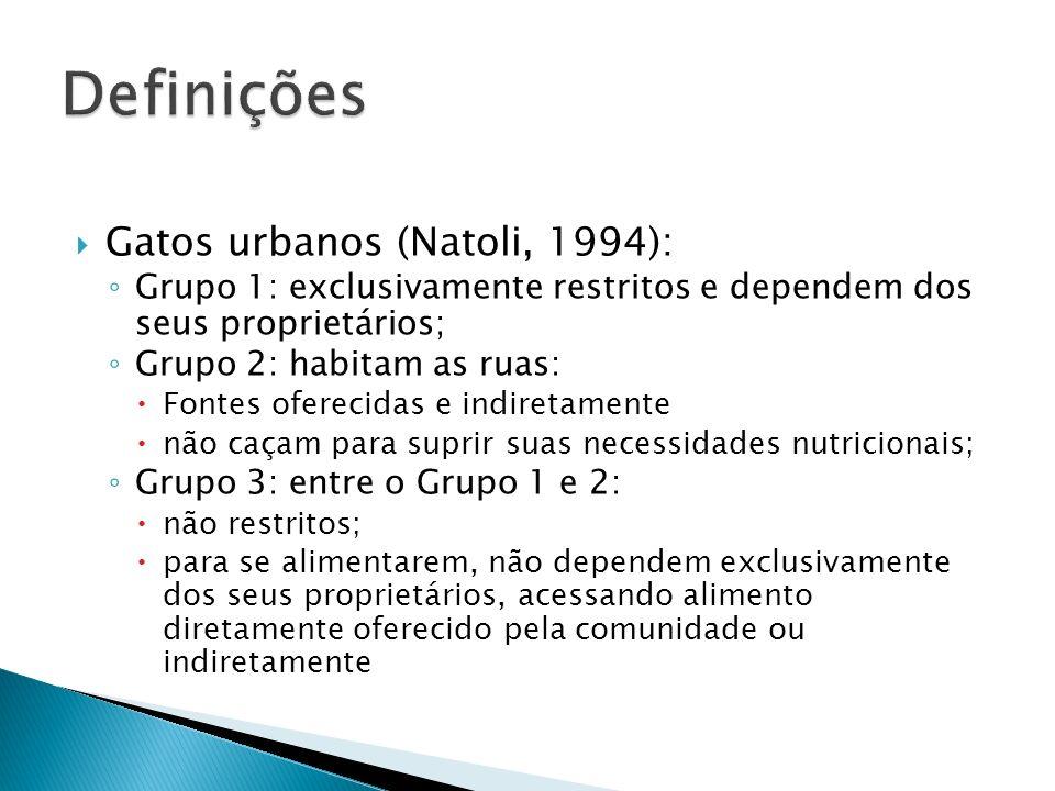 Definições Gatos urbanos (Natoli, 1994):