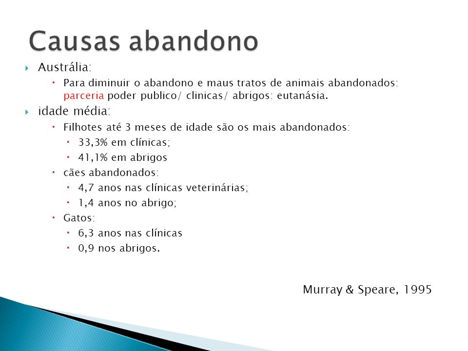 Causas abandono Austrália: idade média: Murray & Speare, 1995