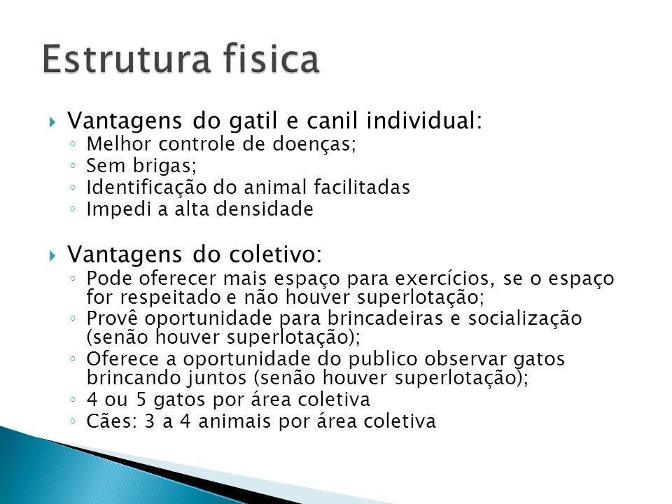 Estrutura fisica Vantagens do gatil e canil individual: