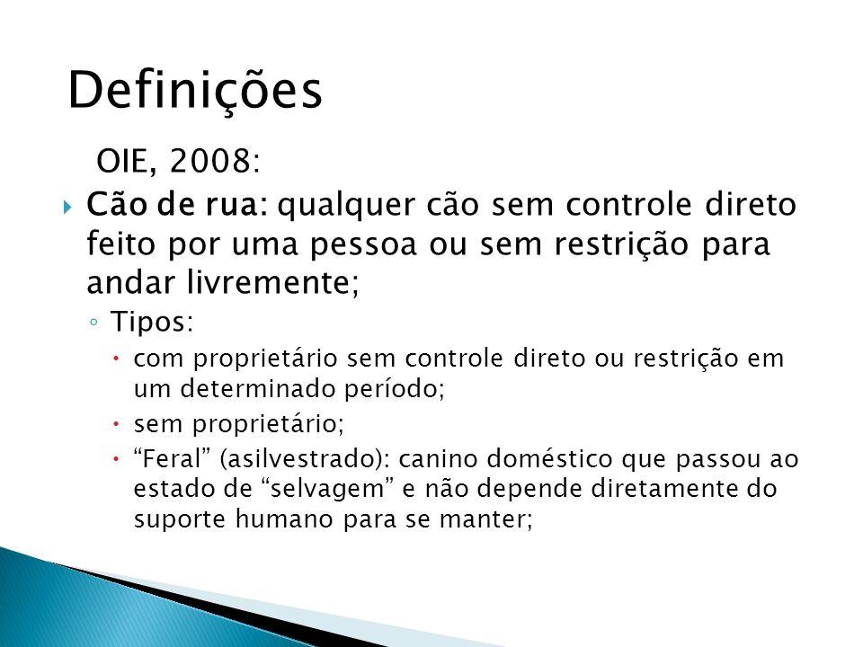 Definições OIE, 2008: Cão de rua: qualquer cão sem controle direto feito por uma pessoa ou sem restrição para andar livremente;