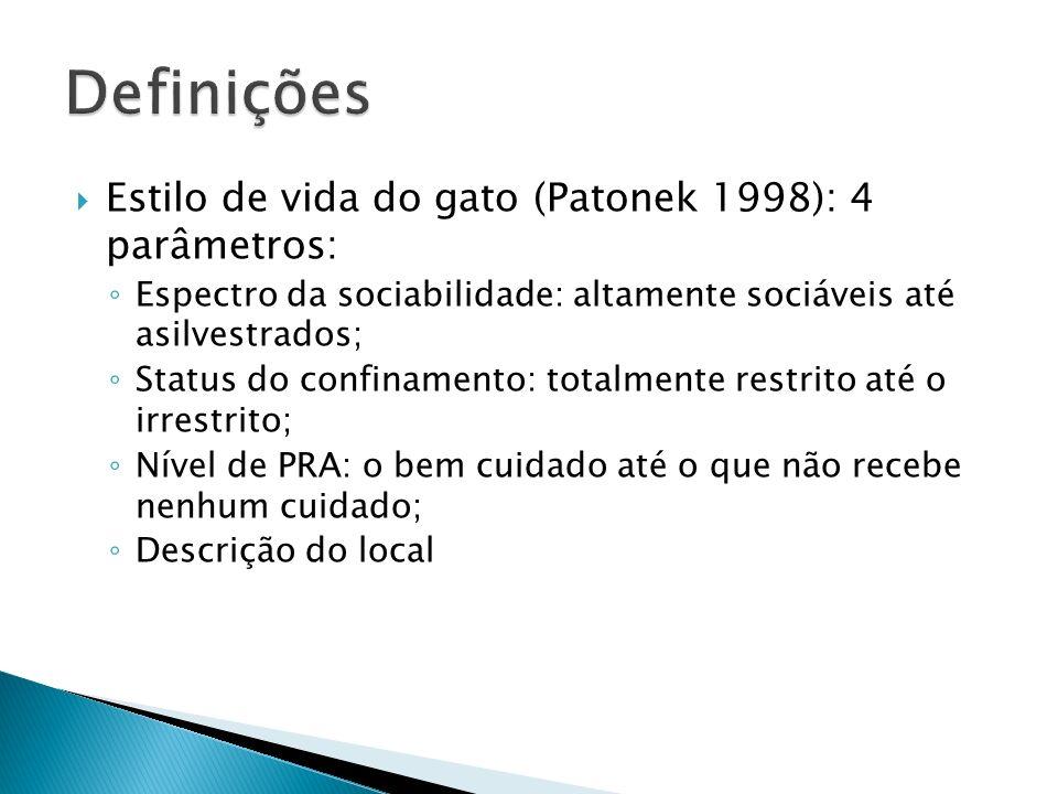 Definições Estilo de vida do gato (Patonek 1998): 4 parâmetros: